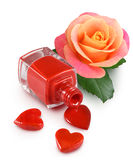 image of nail polish, decorative hearts and flower rose Stock Images
