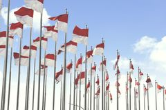 National flags of Indonesia on the flagstaff Royalty Free Stock Image
