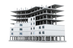 Image new buildings in isolation on a white background. 3d rende Royalty Free Stock Image