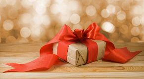 Image of New Year`s gift close-up royalty free stock photography