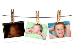 Image of newborn baby like 3D ultrasound and same baby 7 days old and 10 years old. royalty free stock photography