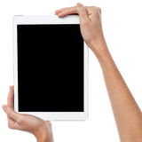 Image of newly launched tablet PC. Latest tablet pc being displayed for sale royalty free stock photos