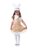 Image of nice curly girl posing in bunny costume Stock Photo