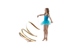 Image of nice little gymnast dancing with ribbon Royalty Free Stock Images