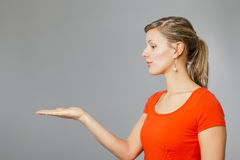 Woman presenting Royalty Free Stock Photo