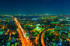 The image of the night city from the height of a bird`s flight. Royalty Free Stock Photo