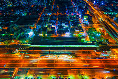 The image of the night city from the height of a bird`s flight. Stock Photo