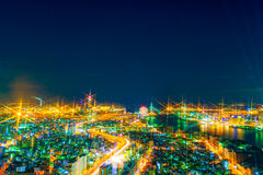 The image of the night city from the height of a bird`s flight. Royalty Free Stock Image