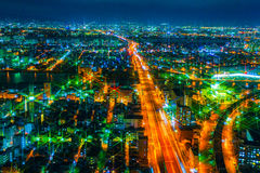 The image of the night city from the height of a bird`s flight. Royalty Free Stock Images