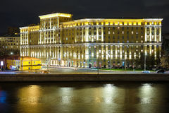 Image of night embankment in Moscow Royalty Free Stock Photo