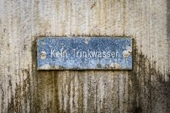 No drinking water sign in german language. An image of a no drinking water sign in german language Stock Image