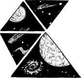 Image noire et blanche de l'espace Modèle géométrique de l'univers Images stock