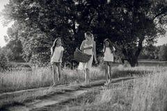 Image noire et blanche de mère avec des filles marchant au pré Photo libre de droits
