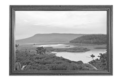 Image noire et blanche de nature dans un cadre photo libre de droits