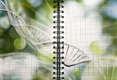 Image of notebook with DNA chain. Abstract image of notebook with DNA chain Royalty Free Stock Photos