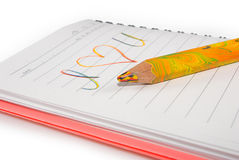 Image of notebook with the inscription close up Royalty Free Stock Photo