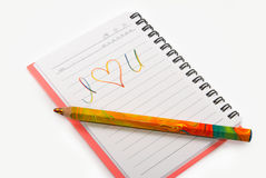 Image of notebook with the inscription close up Stock Image