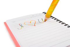 Image of notebook with the inscription close up Royalty Free Stock Photos