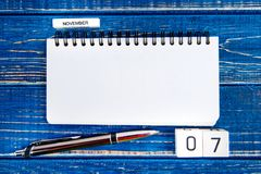 Image of november 7th calendar on blue background. Election day. November 7th. Image of november 7th calendar on blue background. Election day. Empty space for Stock Photos