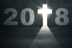 Numbers 2018 with a bright crucifix Royalty Free Stock Photography