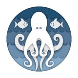 Octopus art paper carving. Image of an octopus against the background of sea waves and fish. Art paper carving and crafting style. Round logo. The underwater Royalty Free Stock Photos