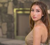 Image Of A Healthy Young Woman Looking At Camera Over Shoulder Royalty Free Stock Photography