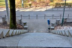 Free Image Of Concrete Stone Steps Stairway Going Down To Street With View Of Park In Background Stock Photos - 107992233