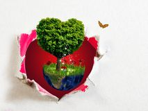 Image Of Planet And Tree In The Shape Of Heart Royalty Free Stock Image