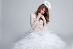 Image Of Pretty Red-haired Girl Dressed As Angel Stock Image