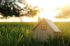Free Image Of Vintage House In The Grass, Garden Or Park At Sunset Light. Stock Image - 123753651