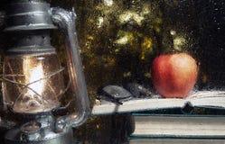 Free Image Of Window Lamp Book Apple Glasses Rain Drop Stock Photo - 195009880
