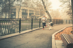 Free Image Of Young Girl Running With Her Dog, Alaskan Malamute Royalty Free Stock Photography - 82508057