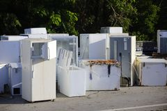 Old appliances left outdoors after Hurricane Irma. Image of old appliances left outdoors after Hurricane Irma in the Florida Keys Stock Photography
