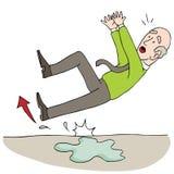 Old Elderly Senior Man Slipping on Wet Floor. An image of a Old Elderly Senior Man Slipping on Wet Floor royalty free illustration