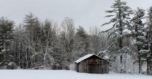 Winter Barn. Image of an old farmstead barn in southern West Virginia during wintertime Royalty Free Stock Image