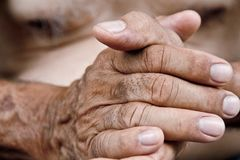 Image of old man hand Stock Photos