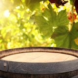 Image of old oak wine barrel in front of wine yard landscape. Useful for product display montage. Image of old oak wine barrel in front of wine yard landscape stock photography