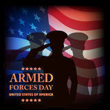 The image on old paper a card by armed forces day. Royalty Free Stock Photos