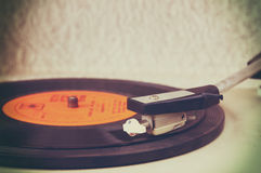 Image of old record player, image is retro filtered . selective focus Royalty Free Stock Images