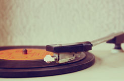 Image of old record player, image is retro filtered . selective focus. Royalty Free Stock Image