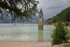 Image of the old sunken church Lake Resia Reschen south tyrol italy Stock Photo