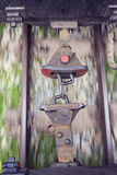 Image of old wagon hooks with train in motion Royalty Free Stock Photography
