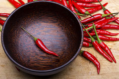 Image of one Red Hot Chili Peppers in bowl Stock Photography
