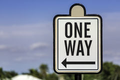 An image of a one way road sign Stock Photo