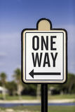 An image of a one way road sign Royalty Free Stock Photos