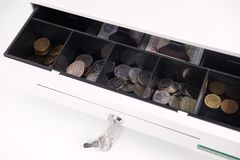 Open cash box close up. Image of an Open cash box close up Royalty Free Stock Photo