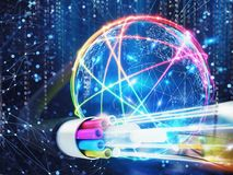 Image of an optical fiber with lights effects. 3D Rendering. Concept of global fast internet infrastructure around the world. 3D Rendering Stock Photos