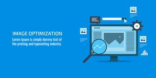 Image optimization, website optimization, alt - text optimization, seo, digital marketing concept. Flat design vector banner. Concept of image optimization for Stock Images
