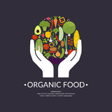 Image of Organic food. Vector illustration of organic food. Fruits and vegetables in the Hands. A symbol of good quality products Stock Image