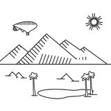 Image of outline aerostat, trees, mountain Stock Images